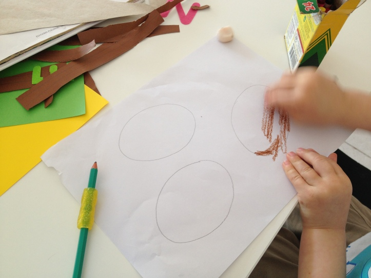 Draw your dinosaur eggs and let your child color them in.