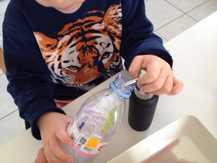 Put two pumps of soap into  your bottle, then add two teaspoons of baking soda.