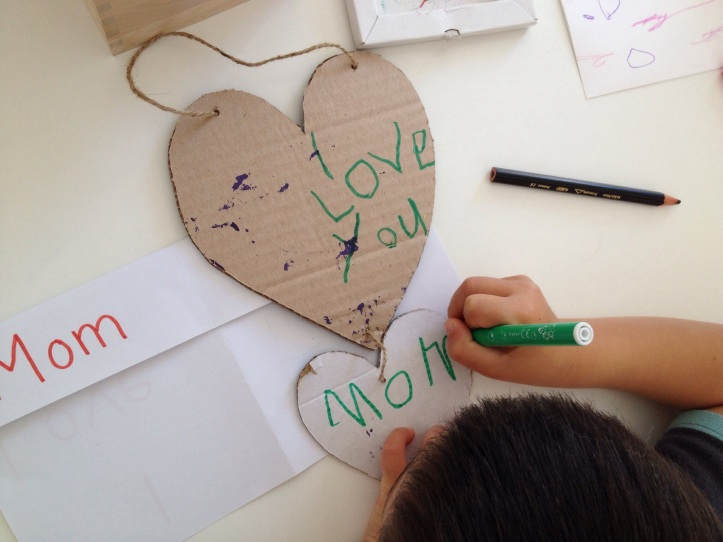 Now write it out on the back of your heart decoration.