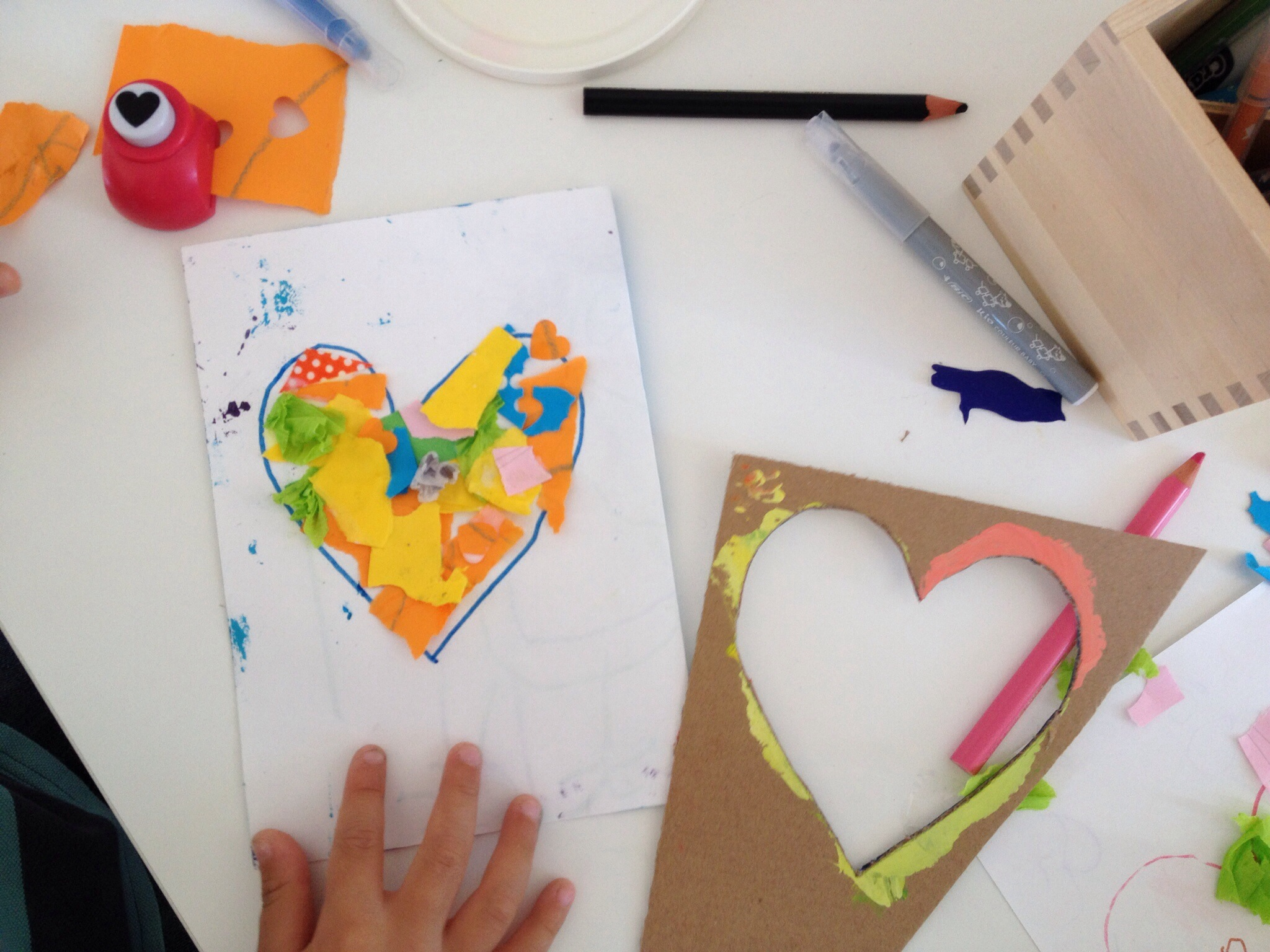 Here's an example of a finished heart on a card.