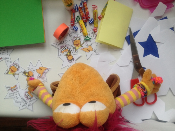 Gobo's busy making cards for his friends.